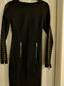 Black long sleeve dress with grommets & zippers