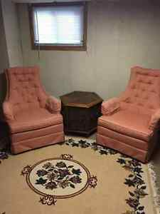 Dining room set, wing chairs, exercise equipment