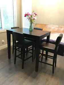 URBAN BARN bar height table and 6 leather chairs