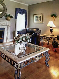 Marble/Wrought Iron/Glass Square Cocktail and End Tables