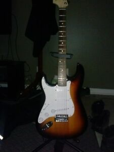 Left Handed Squire Guitar Plus Mustang Amp