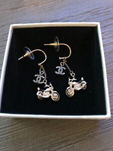 Authentic Chanel Motorcycle Dangle Gold Earrings