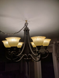 Bronzed rustic 6 shade chandelier
