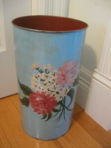 OLD VINTAGE [1951]...TALL SLENDER ROUND METAL WASTE-PAPER CAN