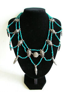 BEAUTIFUL BLUE BEADED NECKLACE