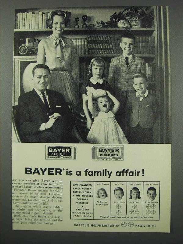 1961 Bayer Aspririn Ad - A Family Affair