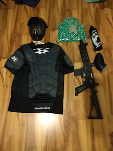 Paintball gun, helmet, vest CO2 tank and about 300 paintballs