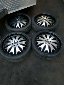 22×8.5 and 22x9.5 rear rims with tires off my camaro