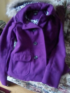 Purple Woolen Coat For Girls