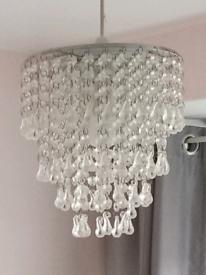 Glass beaded lampshade pendant.