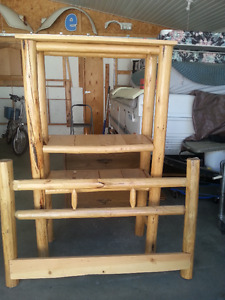Hand peeled log Shelving  Unit plus Double Head board