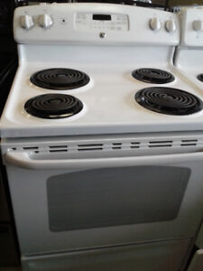 "30"" GE COIL TOP WHITE STOVE"