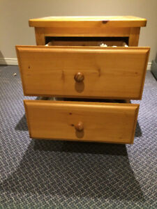 TWO HARD WOOD SIDE TABLES