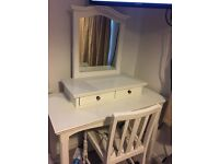 White dressing table and chair