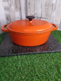 Cast Iron Orange Cassarole Dish Heavy/ Quality