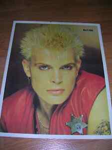 """1980's 8x10 picture of """"Billy Idol"""" sold in record stores- 80's"""