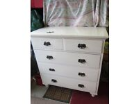 Old Pine Painted Two Over Three Chest Drawers