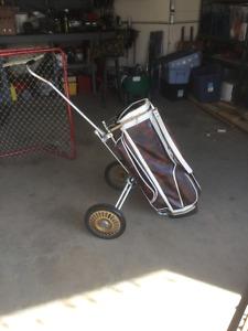 Vintage golf cart and bag