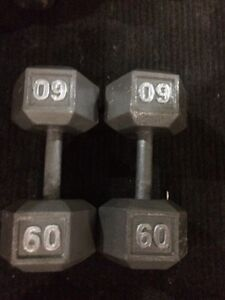 Set of 60 pounds Dumbbells