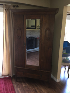 Antique oak Edwardian style armoire