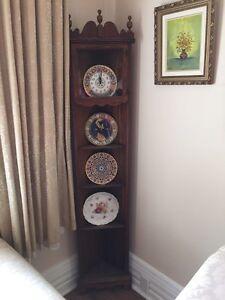 Antique wood corner shelf & China cabinet