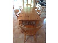 Pine Dining Table and 6 Chairs - Farmhouse Style