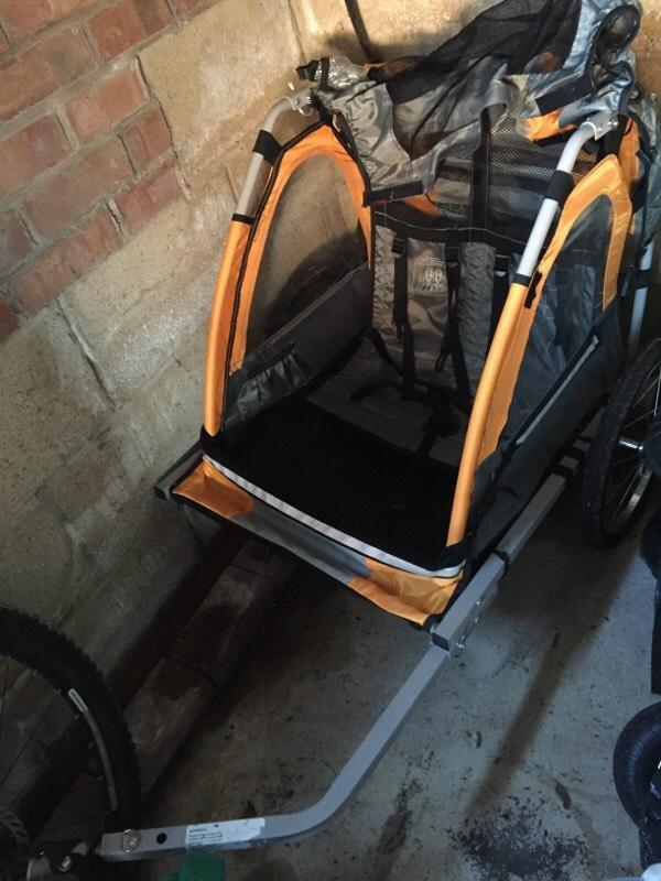 Halfords Double Buggy Child Bike Trailer In Cam