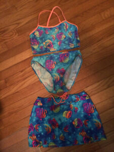 SWIMSUIT WITH MATCHING SKIRT--Youth Size 16