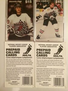 TWO, LIMITED EDTION NHLPA PHONE CARDS OF J. JAGR & E. LINDROS