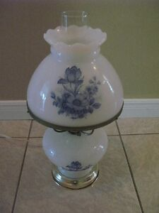 Blue and White Floral Lamp For Sale