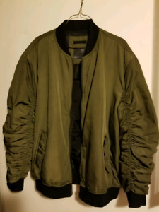 Bershka Bomber Jacket In khaki