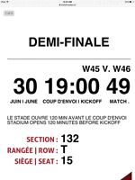 4 tickets to the women's World cup semi-final game in Mtl