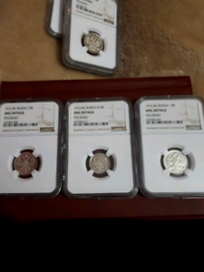 Uncirculated graded Russian coins
