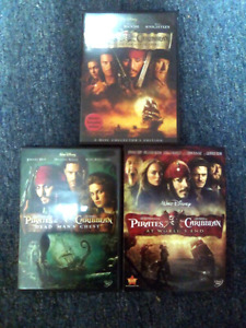 Pirates of the Caribbean 1, 2, and 3 DVDs