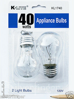 2-Pk Appliance Light Bulb Refrigerator Freezer Oven Microwave Fridge Fan A15 40W