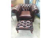 Chesterfield armchair and foot stool