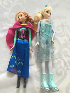Skating Elsa and Anna Barbie Size dolls from Frozen