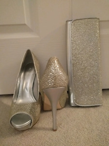 Silver/gold heels and matching clutch
