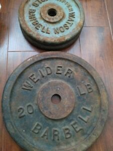 VINTAGE IRON WEIGHT PLATES (40 pounds) - $20 total