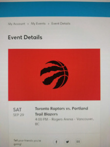 Toronto Raptors vs Portland Trail Blazers Floor Tickets