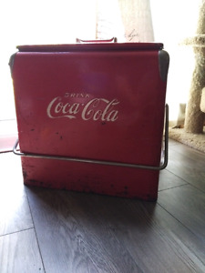 1950's Coca cola cooler original paint with bumps and briuses