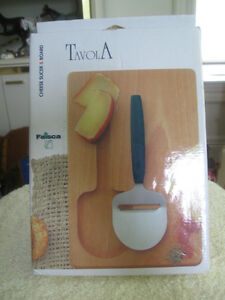 """TRAVOLA"" CHEESE SLICER and CUSTOM-FITTED WOODEN CUTTING BOARD"