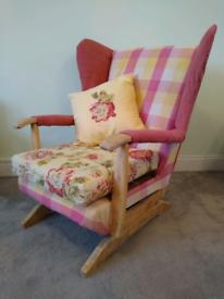 Sprung Rocker Chair Bespoke Patchwork Design