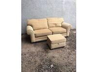 2 seater fabric sofa and stool