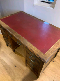 Antique Mahogany Leather Top Bankers Desk