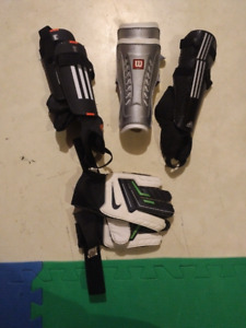Soccer shin guards and gloves