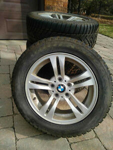 4 BMW aluminum rims for X3 235/55 with Dunlop snow tires
