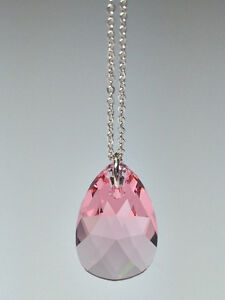 Sterling Silver Necklace w/Swarovski Crystal Pendant -Light Rose
