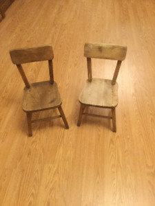 Vintage Childrens Wood Chairs