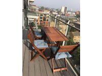 "3 months old IKEA outdoor folding garden table ""Äpplarö"" + 4 folding chairs + 4 cushions"
